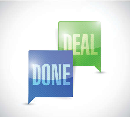 consensus: done deal business communication message bubbles illustration design over a white background