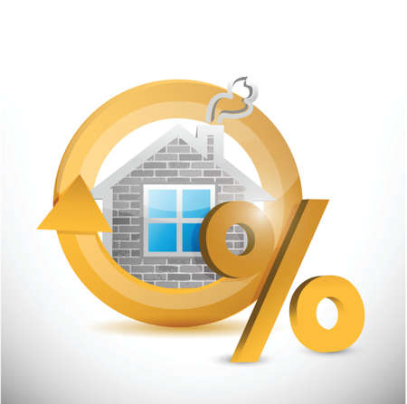 percentage sign: house cycle symbol and percentage sign. illustration design over a white background Illustration