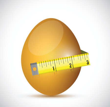 egg and measure tape illustration design over a white background