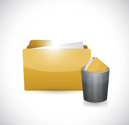 note pc: folder and trash cap illustration design over a white background Illustration