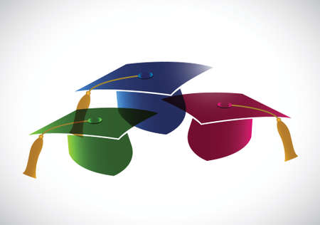 set of graduation hats. tassel. illustration design over a white background