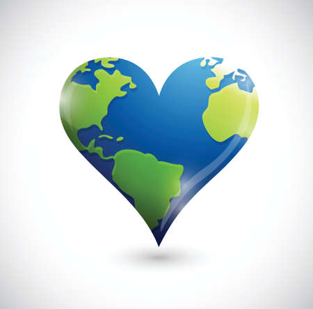 global heart illustration design over a white background Vector
