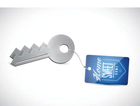 house keys: keys. home sweet home illustration design over a white background