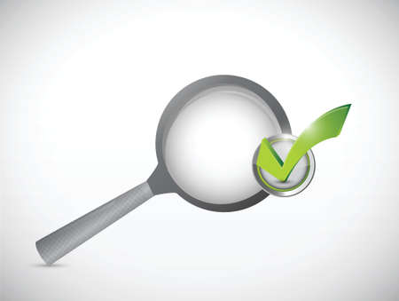 scrutiny: magnify glass and check mark approval illustration design over a white background