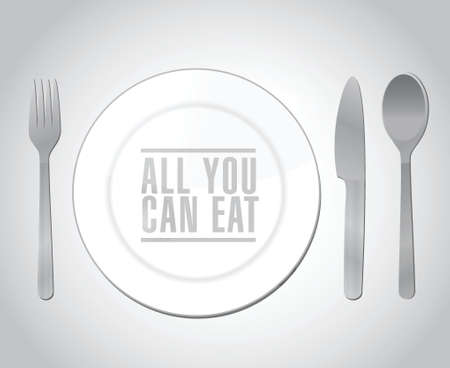 all you can eat plate restaurant illustration design over a white background Vector