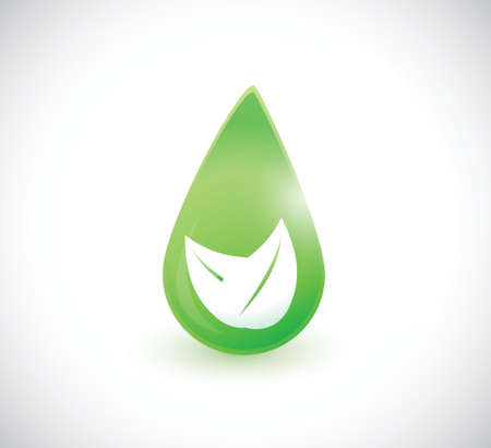 green leave water drop illustration design over a white background Vector