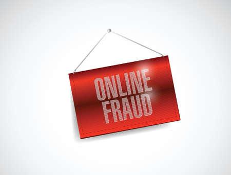 web scam: online fraud hanging banner illustration design over a white background