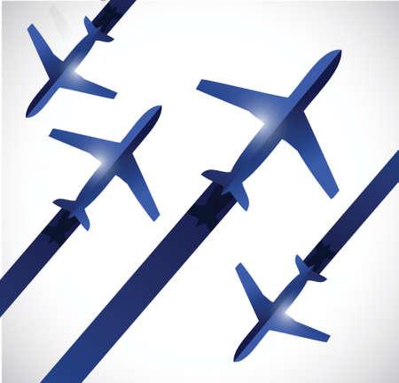 航空ショー: airplanes traveling illustration design over a white background  イラスト・ベクター素材