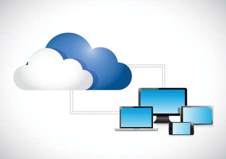 clouds connected to a set of electronics. illustration design over a white background Vector