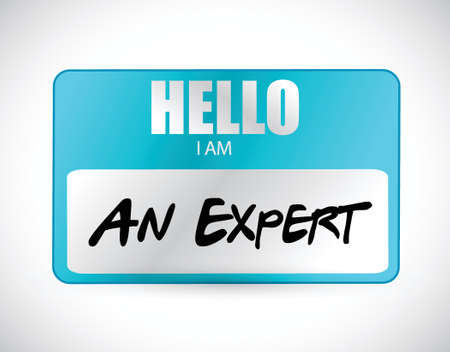 nametag: hello I am an expert name tag illustration design over a white background