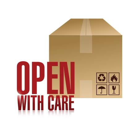 open with care box illustration design over a white background