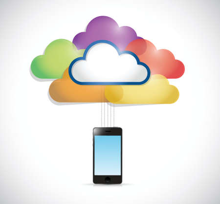 colorful clouds connected to a smartphone. illustration design over a white background Vector