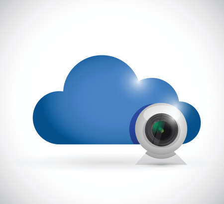 web cam: cloud computing and computer camera. illustration design over a white background Illustration
