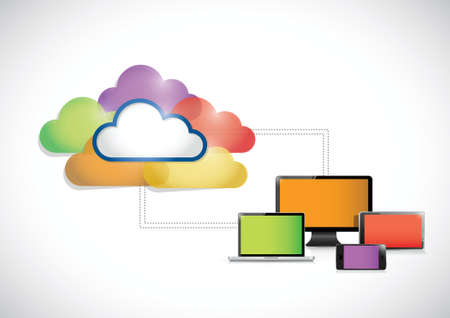 colorful clouds connected to a set of electronics. illustration design over a white background Vector