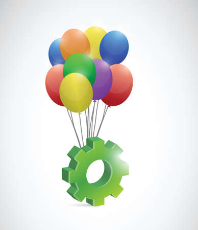 gear and balloons illustration design over a white background Vector