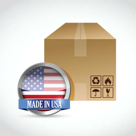 relocating: made in usa box illustration design over a white background Illustration