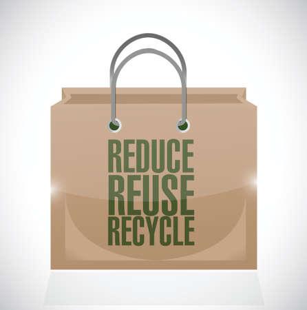 reduce reutiliza recicla: reducen la reutilizaci�n bolsa de papel marr�n reciclar ilustraci�n dise�o sobre un fondo blanco