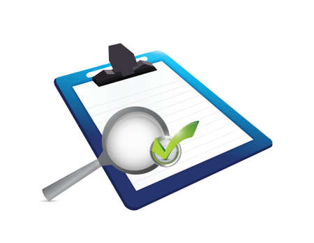 scrutiny: clipboard and magnify check mark illustration design over a white background Illustration