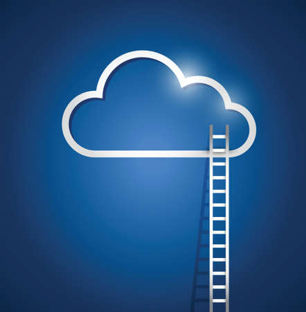 border cloud computing and stairs. illustration design over a blue background