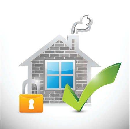 secure: secure home illustration design over a white background Illustration