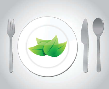 eating your green food concept illustration design over a grey background Vector
