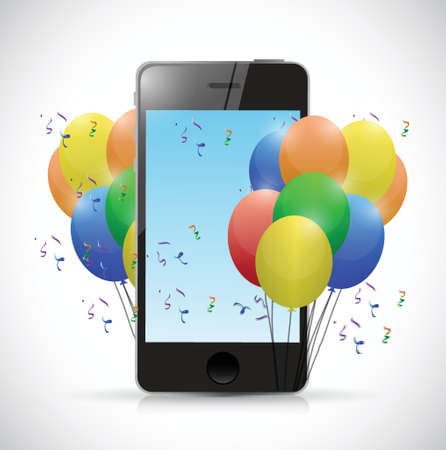 phone and party balloons. illustration design over a white background Vector