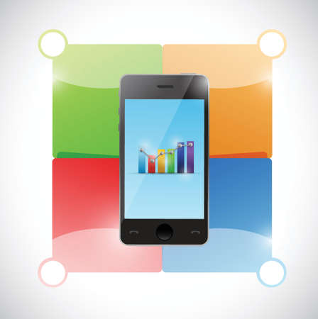 analytic: colorful infographic phone illustration design over a white background Illustration