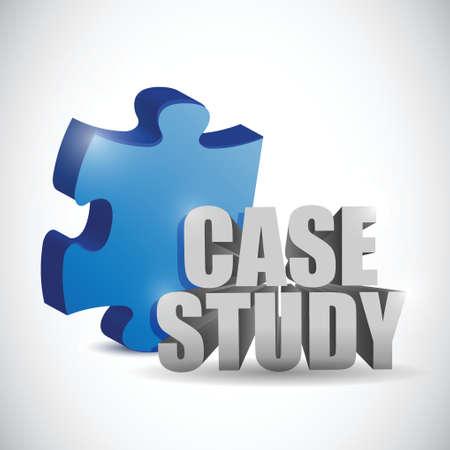 case: pieza del rompecabezas y envolvente del aviso estudio. diseño de ilustración sobre un fondo blanco