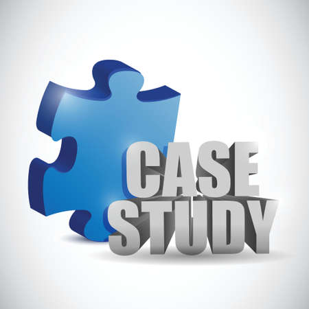 practical: puzzle piece and case study sign. illustration design over a white background Illustration
