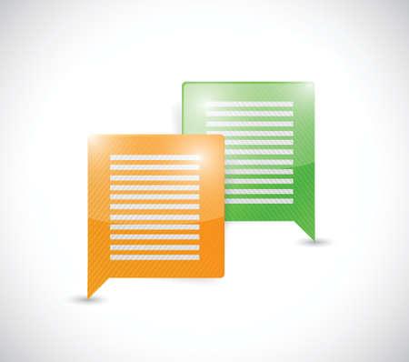 colorful message bubbles. communication concept. illustration design over a white background Vectores