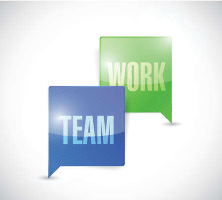 conclude: team work communication illustration design over a white background
