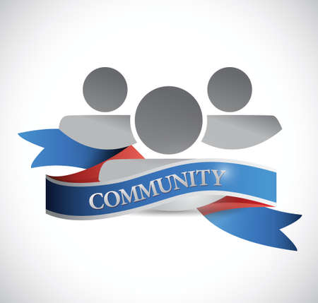 community people: persone della comunit� e nastro design illustrazione su uno sfondo bianco Vettoriali