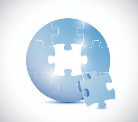 circulaire: cercle bleu de puzzle illustration de conception sur un fond blanc Illustration