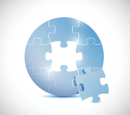 blue circle: rompecabezas azul c�rculo ilustraci�n dise�o sobre un fondo blanco