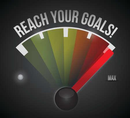exceeding: alcanzar su metas veloc�metro ilustraci�n dise�o sobre un fondo negro
