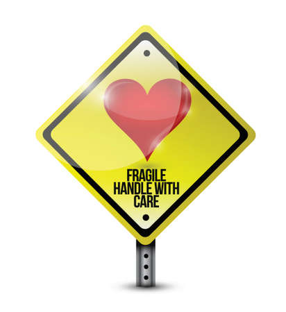 heart fragile handle with care sign illustration design over a white background Vector