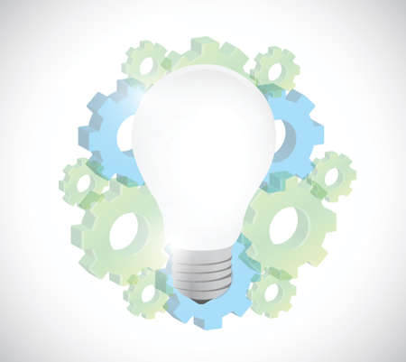 gears and light bulb illustration design over a white background Illustration