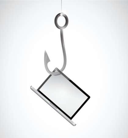hook and laptop illustration design over a white background 일러스트
