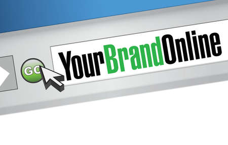 marketing online: your brand online browser message illustration over a white background
