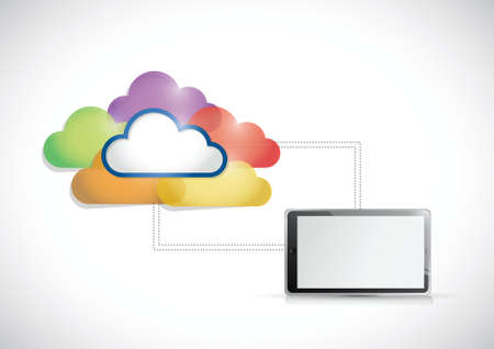 tablet colorful cloud computing connection illustration over a white background Vector