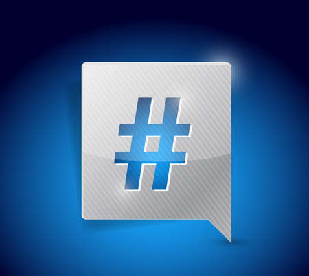 message bubble and hashtag illustration design over a blue background illustration