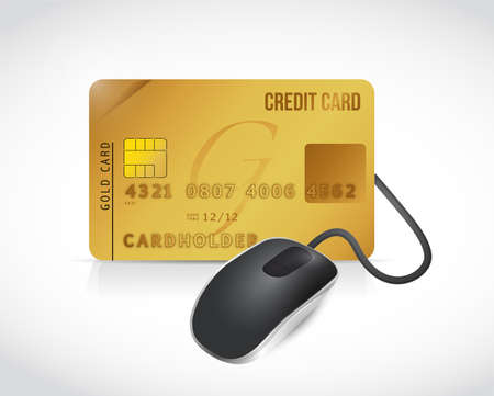credit card connected to a mouse. illustration design over a white background illustration