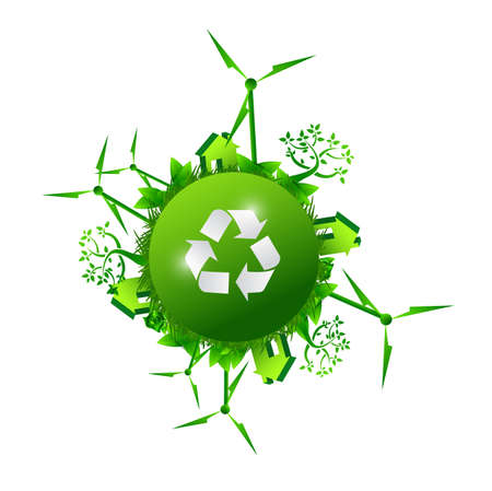 solarpower: recycle green nature concept illustration design over a white background