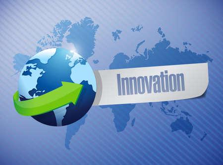 creativity: globe innovation sign illustration design over world map background Stock Photo