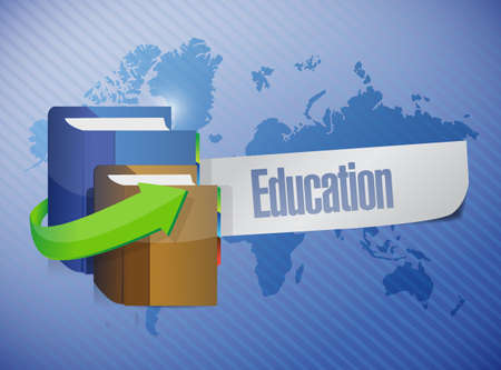 studing: global education sign illustration design over a world map background