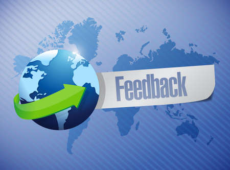 global feedback sign illustration design over a world map background illustration