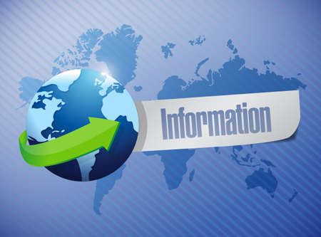 feedback link: global information sign illustration design over a world map background