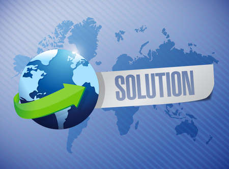 globe solution sign illustration design over a world map background illustration