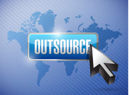 offshoring: outsource button and cursor over a world map illustration design background