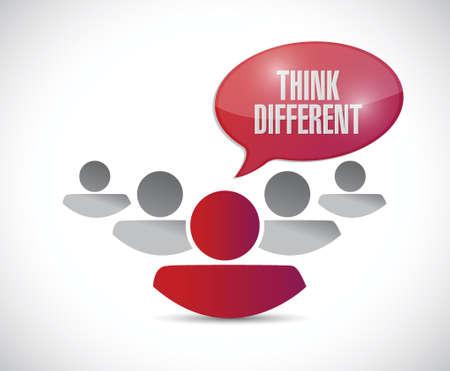 team spirit: team work with think different message. illustration design over a white background